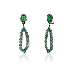 SILVER EARRINGS WITH GREEN ZIRCON